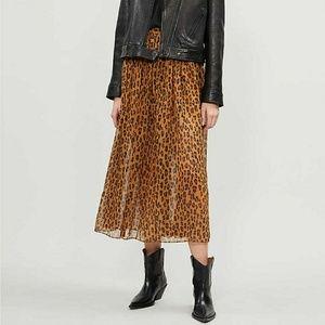 Free People Lydia leopard print woven midi skirt
